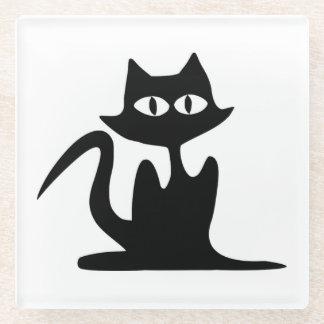 黒猫 ガラスコースター