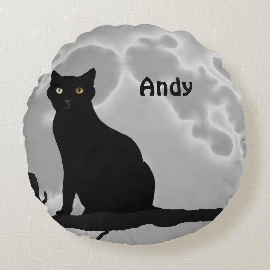 黒猫 ラウンドクッション
