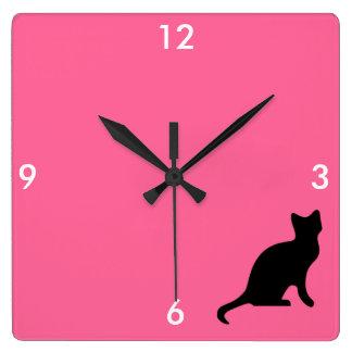 黒猫-気味悪い恐い スクエア壁時計