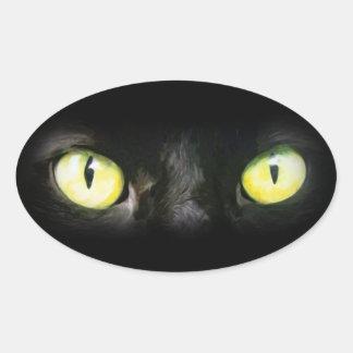 黒猫、黄色の緑の瞳、お洒落および気味悪い 楕円形シール