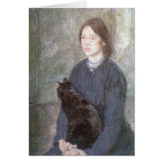 黒猫- Gwenジョン--を握っている若い女性 カード
