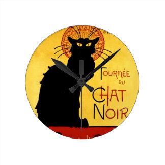黒猫Vintage Tourneee du Chat Noir、Theophile ラウンド壁時計