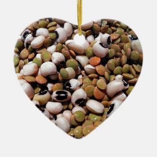 黒目のエンドウ豆およびレンズ豆のメドレー セラミックオーナメント