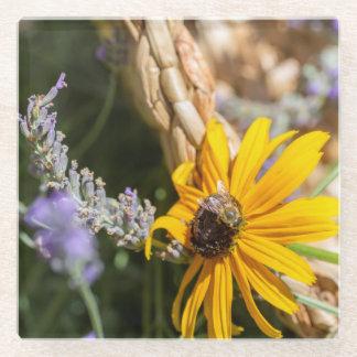 黒目のスーザンの蜂蜜の蜂 ガラスコースター