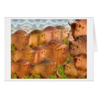 黒目のsusans間の木の水牛 カード