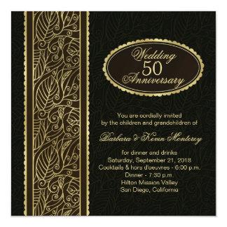 黒第50の結婚記念日の金葉 13.3 スクエアインビテーションカード