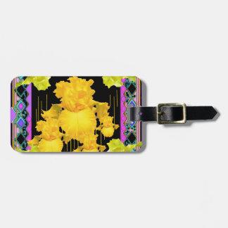 黒紫色金ゴールドのアイリス庭パターンギフト ラゲッジタグ