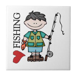 黒髪の男の子I愛魚釣り タイル