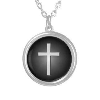 黒121十字 シルバープレートネックレス