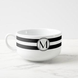 黒|の白のストライプパターンモノグラム スープマグ