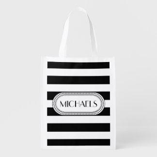 黒|の白のストライプパターンモノグラム 買い物袋