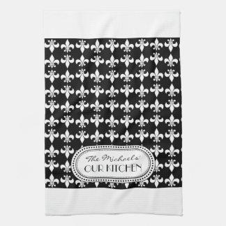 黒|の白の(紋章の)フラ・ダ・リのモノグラムパターン キッチンタオル
