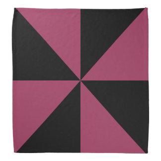 黒、サングリエのピンクの三角形の風車パターン バンダナ