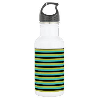 黒、ターコイズおよび黄色い縞 ウォーターボトル