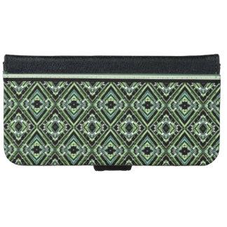 黒、ティール(緑がかった色)および緑のモダンな道化師パターン iPhone 6/6S ウォレットケース