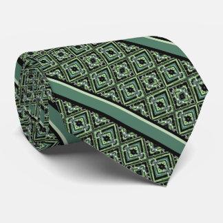 黒、ティール(緑がかった色)および緑の道化師パターン カスタムネクタイ