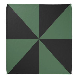 黒、ハンター緑の三角形の風車パターン バンダナ