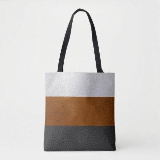 黒、ブラウンの白く模造のな革-トートバック トートバッグ
