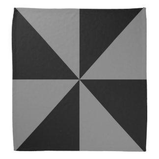黒、中型の灰色の三角形の風車パターン バンダナ