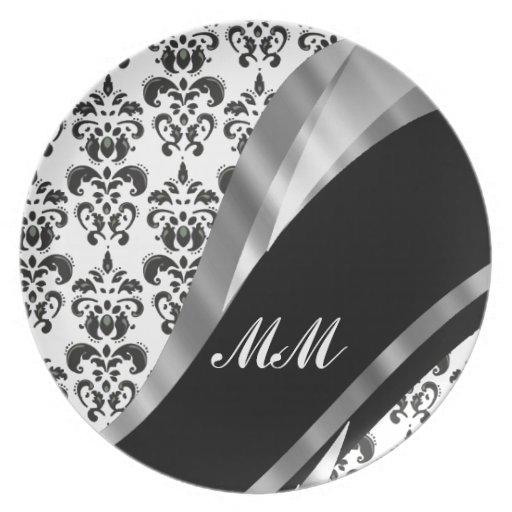 黒|及び|白い|ダマスク織 パーティー皿