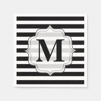 黒|及び|白い|縞で飾ります|モノグラム|ナプキン