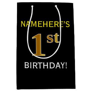 黒、模造のな金ゴールドの第1誕生日 + 名前をカスタムする ミディアムペーパーバッグ