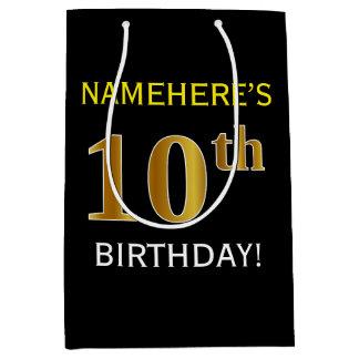 黒、模造のな金ゴールドの第10誕生日 + 名前をカスタムする ミディアムペーパーバッグ