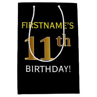 黒、模造のな金ゴールドの第11誕生日 + 名前をカスタムする ミディアムペーパーバッグ