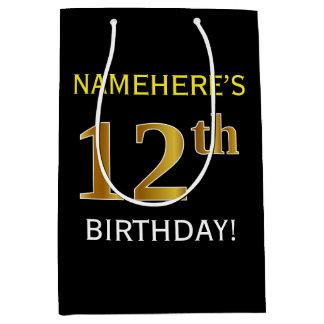 黒、模造のな金ゴールドの第12誕生日 + 名前をカスタムする ミディアムペーパーバッグ