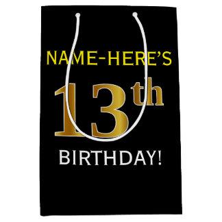 黒、模造のな金ゴールドの第13誕生日 + 名前をカスタムする ミディアムペーパーバッグ