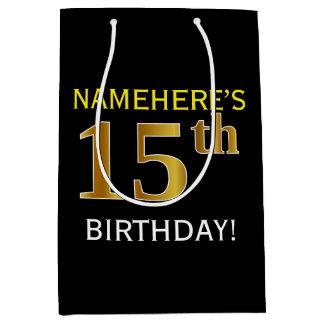 黒、模造のな金ゴールドの第15誕生日 + 名前をカスタムする ミディアムペーパーバッグ