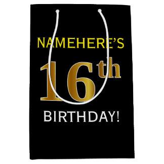 黒、模造のな金ゴールドの第16誕生日 + 名前をカスタムする ミディアムペーパーバッグ