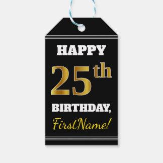 黒、模造のな金ゴールドの第25誕生日 + 名前をカスタムする ギフトタグ