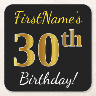 黒、模造のな金ゴールドの第30誕生日 + 名前をカスタムする スクエアペーパーコースター