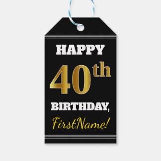 黒、模造のな金ゴールドの第40誕生日 + 名前をカスタムする ギフトタグ