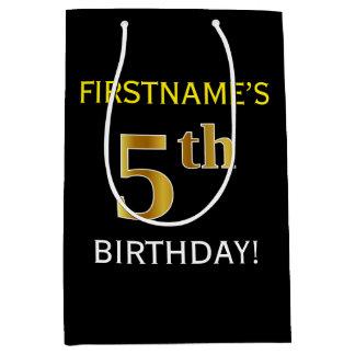 黒、模造のな金ゴールドの第5誕生日 + 名前をカスタムする ミディアムペーパーバッグ