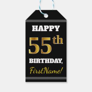 黒、模造のな金ゴールドの第55誕生日 + 名前をカスタムする ギフトタグ
