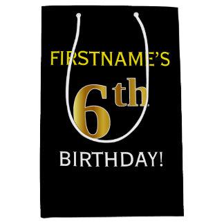 黒、模造のな金ゴールドの第6誕生日 + 名前をカスタムする ミディアムペーパーバッグ