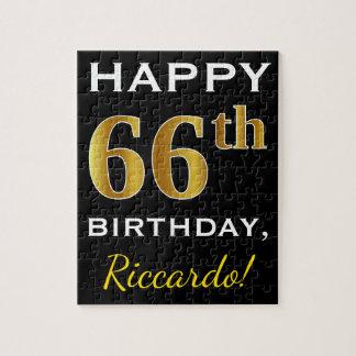 黒、模造のな金ゴールドの第66誕生日 + 名前をカスタムする ジグソーパズル