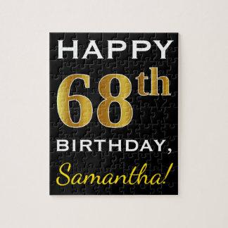 黒、模造のな金ゴールドの第68誕生日 + 名前をカスタムする ジグソーパズル