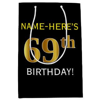 黒、模造のな金ゴールドの第69誕生日 + 名前をカスタムする ミディアムペーパーバッグ