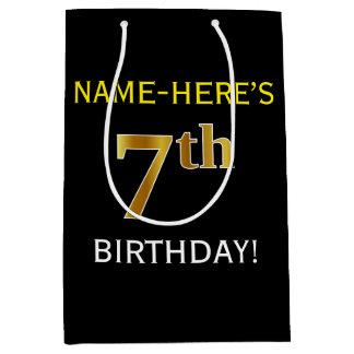黒、模造のな金ゴールドの第7誕生日 + 名前をカスタムする ミディアムペーパーバッグ