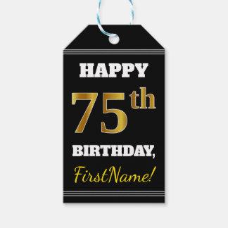 黒、模造のな金ゴールドの第75誕生日 + 名前をカスタムする ギフトタグ
