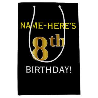 黒、模造のな金ゴールドの第8誕生日 + 名前をカスタムする ミディアムペーパーバッグ