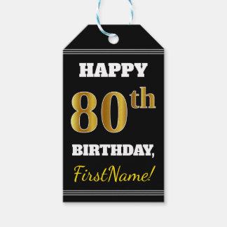 黒、模造のな金ゴールドの第80誕生日 + 名前をカスタムする ギフトタグ