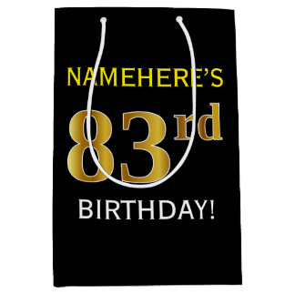 黒、模造のな金ゴールドの第83誕生日 + 名前をカスタムする ミディアムペーパーバッグ