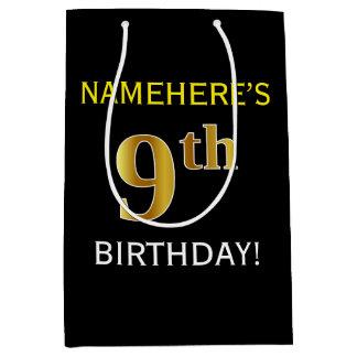 黒、模造のな金ゴールドの第9誕生日 + 名前をカスタムする ミディアムペーパーバッグ
