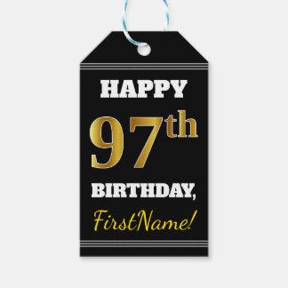 黒、模造のな金ゴールドの第97誕生日 + 名前をカスタムする ギフトタグ