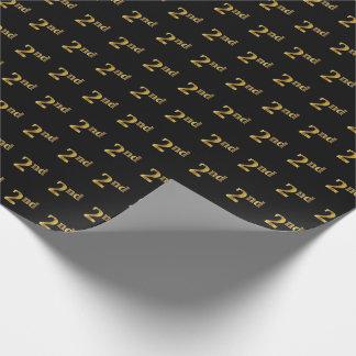黒、模造のな金ゴールド第2の(二番目に)イベント ラッピングペーパー