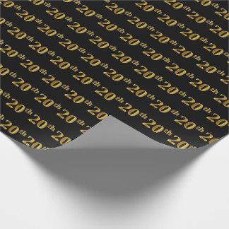 黒、模造のな金ゴールド第20の(第20)イベント ラッピングペーパー